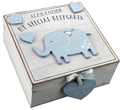 Personalised Engraved Baby Wooden Elephant Keepsake Box Blue Memory Box