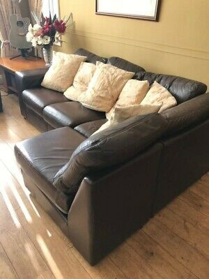 Brown Leather Corner Sofa and 2 seater to match Italian leather