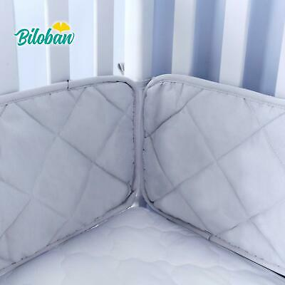 "Toddler Crib Bumper Breathable Baby Gift Grey Bedding Pad Protector 4PCs 52""x28"""