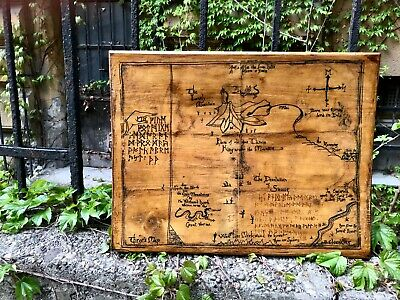 The Lord of the Rings Hobbit Map Wooden Picture Wall Art