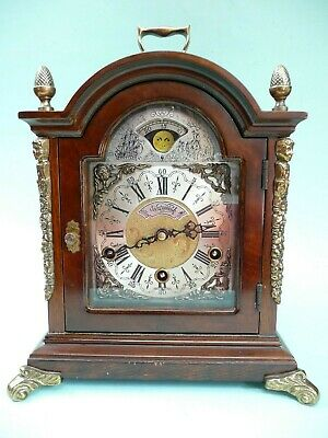 Bracket Clock, Westminster Chimes, Moon Phase, 1/4 hour striking....ref.1508