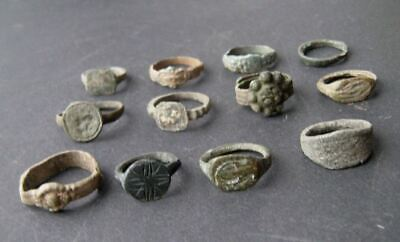 Collection of Viking Age to Late Medieval Bronze Rings, 12 pcs. Rare and Genuine