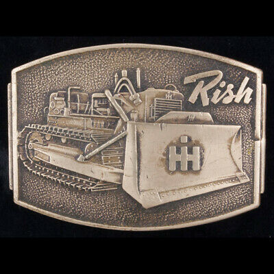Rare Antique International Harvester Tractor IH Rish Bulldozer Brass Belt Buckle