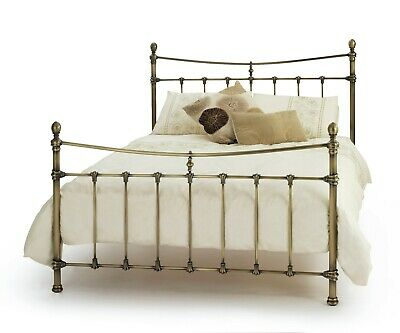 Victorian Antique Brass Finish Metal Bed Frame Bedstead.4FT6 double,5FT King