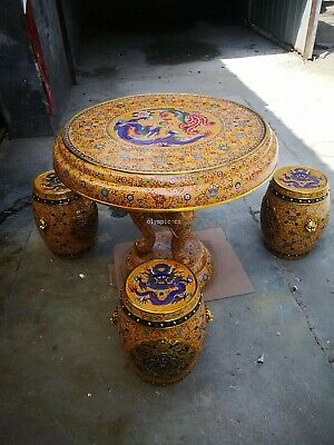 A set of bronze gold Copper filigree enamel cloisonne Dragon round table stool