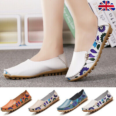 Women Mom Casual Flats Loafer Faux Leather Soft Slip On Walking Shoes Moccasins