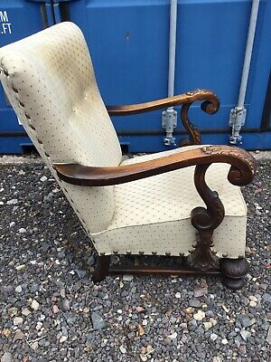 Antique  Solid Carved Arm Chair Vintage Shabby Chic Farm House