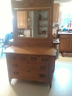 Antique Oak Dresser - 4 drawer and mirror (75 inches x 44 inches)
