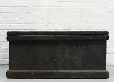Large Shabby Black Victorian Pine Engineers Chest Trunk With Two Lift-out Trays