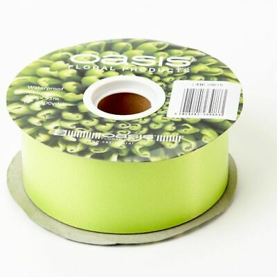 "2"" FLORIST RIBBON LIME GREEN 50mm Satin Flower Hamper Gift Wedding Car 91m Roll"