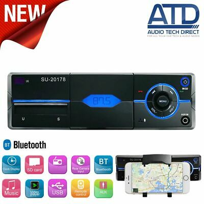 Mechless Single 1 DIN Bluetooth Car Radio USB BT Stereo AUX Built In Phone Mount