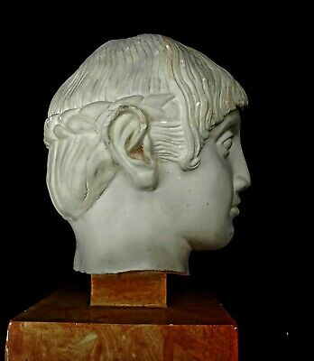 """Head of a Greek Youth   Reproduction of famous C. 480 BC bust 8"""" high 6""""wide"""