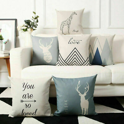 Sika Deer Cotton Linen Pillow Case Cushion Cover Waist Cover Home Decor MY1441