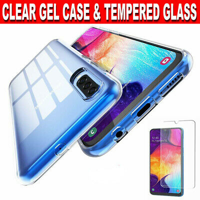 Case for Samsung Galaxy A50,A40 Slim TPU Clear Gel Cover Glass Screen Protector