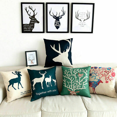 Sika Deer Pattern Cushion Cover Cotton Linen Waist Throw Pillow Case Sofa Home