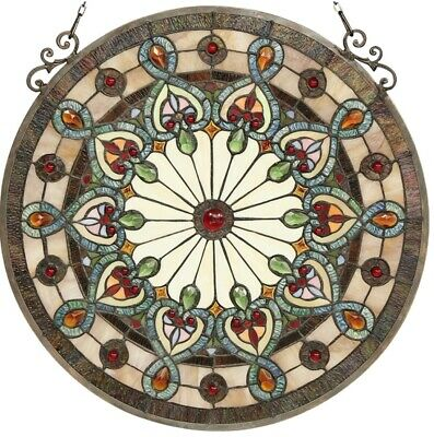 """23.5"""" x 23.5"""" Victorian Helena Tiffany Style Stained Glass Window Panel"""