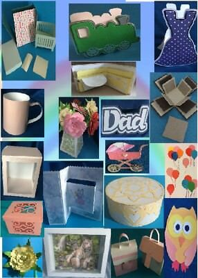 Brother Scan N Cut ONLY Ecraft on CD Mixed cutting files Cards,Cot, Flower Box