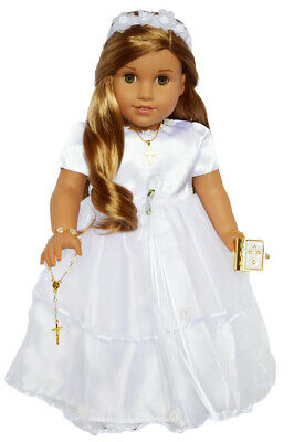 """Doll Clothes 18"""" Dress Communion Shoes Cross Bible Fits 18"""" American Girl Dolls"""