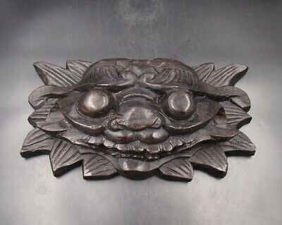 330mm Handmade Carving Painting colored drawing wood Mask dragon Deco Art
