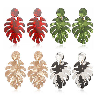 3cedf9670 Monstera Leaf Drop Dangle Earrings Acrylic Statement Tropical Plant Jewelry  Gift