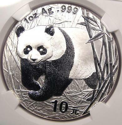 2002 China Silver Panda S10Y - NGC MS70 - Rare Top Grade Certified MS70 Coin!