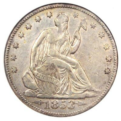 1853 Arrows & Rays Seated Liberty Half Dollar 50C - Certified ANACS XF Details