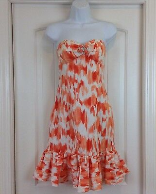 Cache Womens Size 4 Coral Ivory Strapless Bling Empire Waist Party/Event Dress