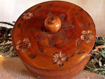 Antique Wood Sewing Box Primitive AAFA Hand Carved Turned Wood