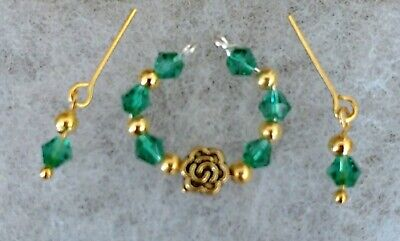Vintage Barbie Necklace & Earrings Set Emerald Green & Gold   Handmade & Classy
