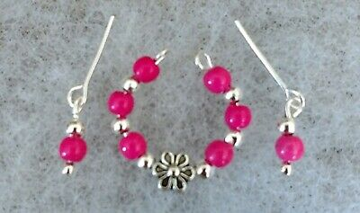 Vintage Barbie Necklace & Earrings Set Hot Pink & Silver  Handmade & Classy