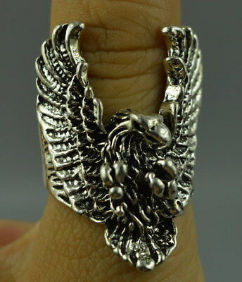 AAA China Decorate Collect Tibet Silver Carve Flying Eagle Noble Ring Gift Art