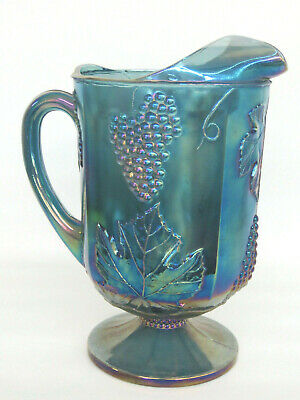 Indiana Harvest Grape Style Blue Carnival Glass Iridescent Footed Pitcher 847B