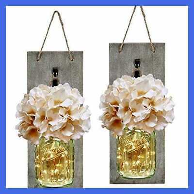 Mason Jar Sconce Rustic Home Wall Decor W LED Fairy Lights Handcrafted Hanging S