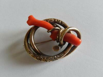 Antique Victorian Large Gold GF Coral Love Knot Pin