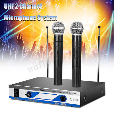 UHF Wireless 2 Channel Dual Handheld Microphone Mic System Receiver Party KTV