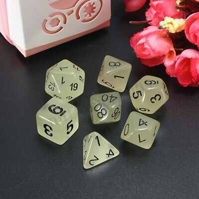 7Pc/Set White D4-D20 Luminous Dice Polyhedral DND RPG MTG Game Dungeons & Dragon