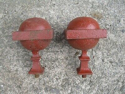 2 x Architectural Solid Metal Gate Post Tops, Finials, Balls.