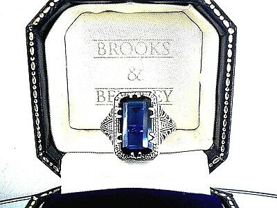 Exquisite  12Ct  Sapphire Ring    ~   Art Nouveau Style  ~ Sterling Silver 925