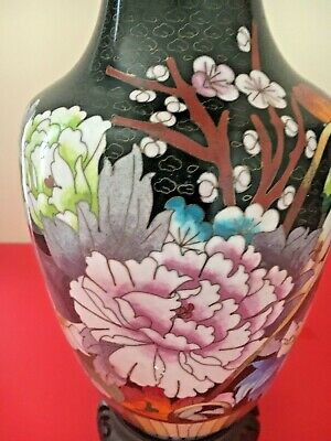 "Antique/Vintage Large Tall  Chinese Cloisonne Flower Vase 12"" Tall"