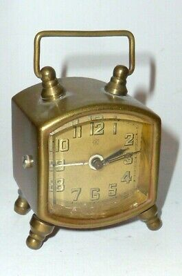 Old Junghans Travel Clock Watch Alarm Table Art Nouveau