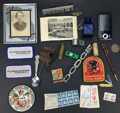 Estate Junk Drawer Lot, Stamps Patches Picture Pocket Knife Pen Car Emblems Pin