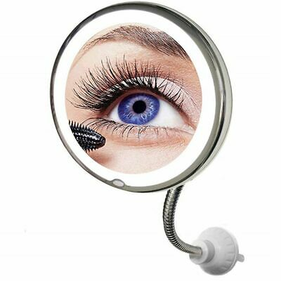 Flexible Illuminated Makeup Mirror 10x Mag Flexi With Bendable Neck Cosmetic ES