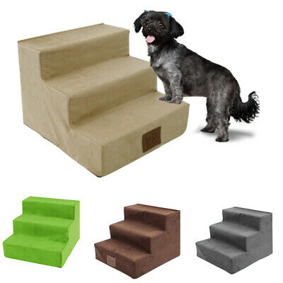 3-Step Dog Pets Stairs Indoor Ramp Portable Folding Puppy Cat Ladder Bed Cushion