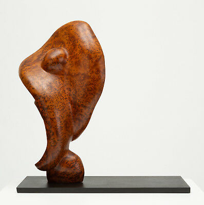 Mounted Abstract Sculpture Bird's Eye Mahogany Carved Burl Mid Century Wood