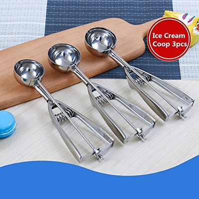 Ice Cream Scoops, Cookie Scoop with Trigger, 3 PCS Large-Medium-Small Size 18/8