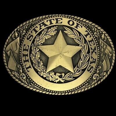 Vintage Texas State Seal Texan Tony Lama Western Cowboy Brass 1980s Belt Buckle