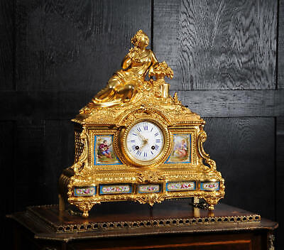 Fine Sevres Porcelain Ormolu French Antique Clock - Raingo Freres & Henri Picard