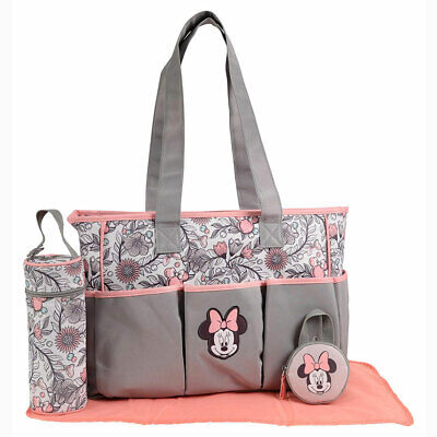 Disney Baby Minnie Mouse 4 pcs Diaper Bag Bottle, Pacifier Tote Gray Pink Floral
