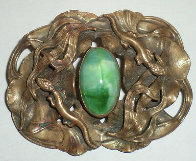 Antique Victorian Brass & Green Art Glass Stone Sash Pin Brooch Lizards Geckos