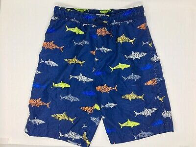 ee2f7323b6 Lands End Boys 14-16 Navy Blue with Sharks Swimsuit Swim Shorts Trunks